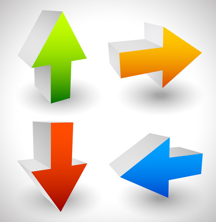 pointing up: Arrow icons pointing up, down, left and right. Vector graphic Stock Photo