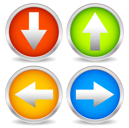 down under: Arrow icons pointing up, down, left and right. Vector graphic Stock Photo