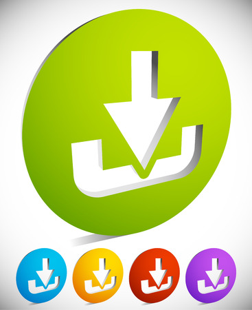 Download button or icon with arrow pointing to a hard drive. photo