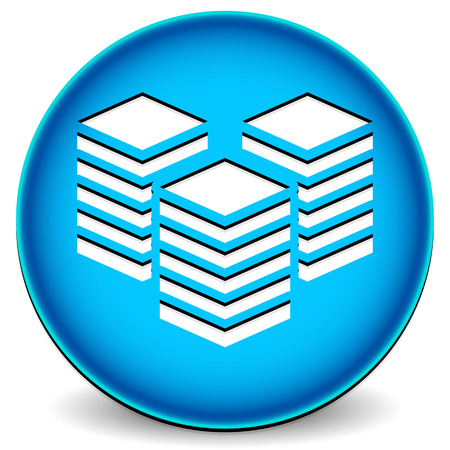 datacentre: Icon with towers. Webhosting or building, layers concepts. Stock Photo