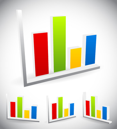 barchart: 3d bar chart, bar graph elements, vector for presentation, statistics, analytics concepts. Stock Photo