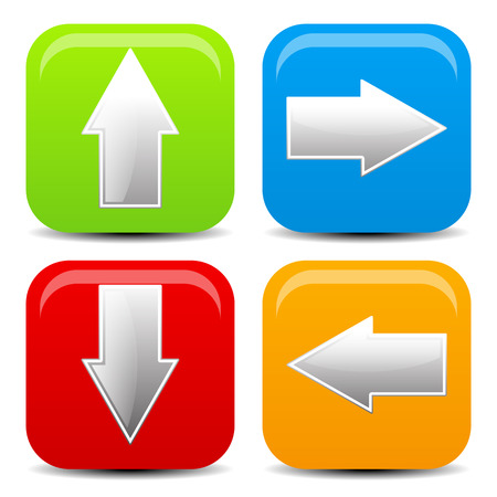 back and forth: Arrow icons in all direction. Up, down, left, right arrows. Stock Photo