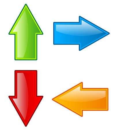 downward: Arrow icons in all direction. Up, down, left, right arrows. Stock Photo