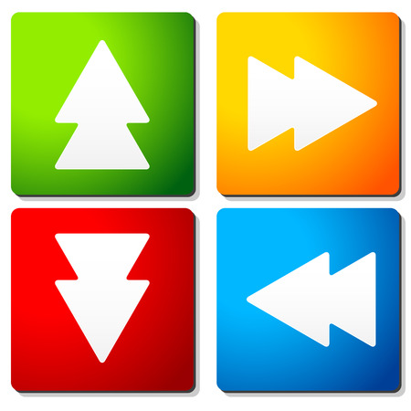 front raise: Double arrow symbols on colorful squares. Arrow buttons, arrow icons. Vector. Stock Photo