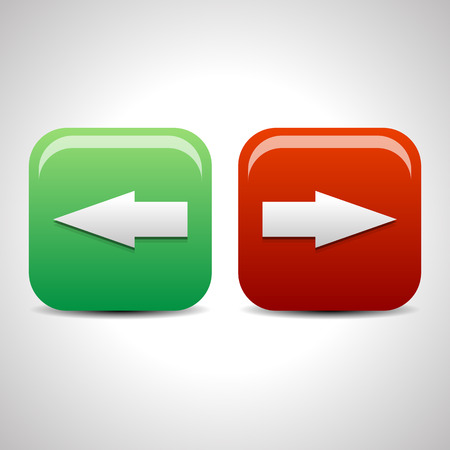 move backward: Left and right arrow icons, buttons. Vector. Stock Photo
