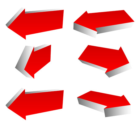 different directions: Set of 3d red arrows in different directions. Left and right arrows. Stock Photo