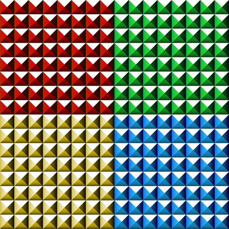 tapering: Studded, pointed background, seamless pattern in 4 colors.
