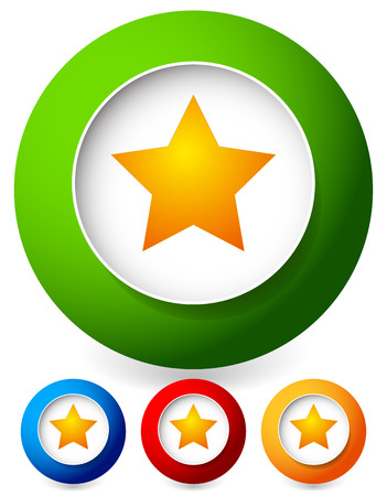 five pointed: Star in a circle icon. Vector graphics.