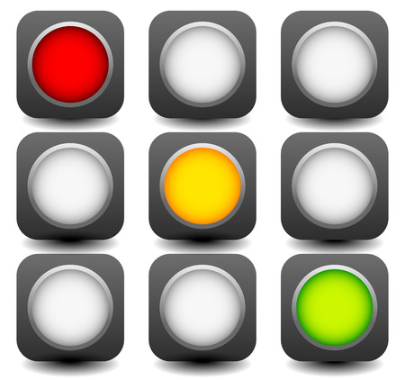 disallow: Vector control lights, semaphores or traffic lamps isolated on white.