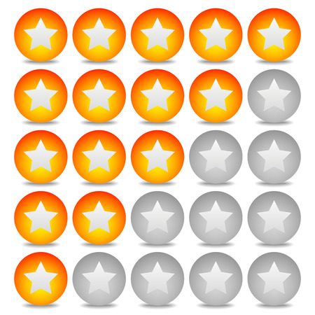 star rating: Star rating system with 5 stars and sphere graphics