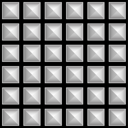 metalwork: Studded pointed pattern, background. Seamlessly tileable, vector.