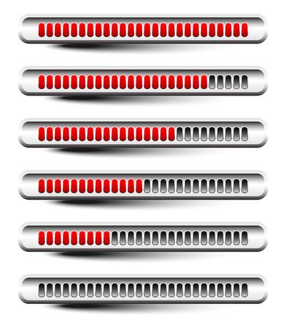 units: Horizontal progress or loading bars with red units.