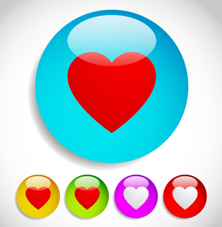 liking: Colorful icons with hearts for love, affection, romance, liking concepts, vector.
