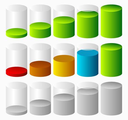 fullness: 3d Cylinder level, completion, fullness or progress indicators.