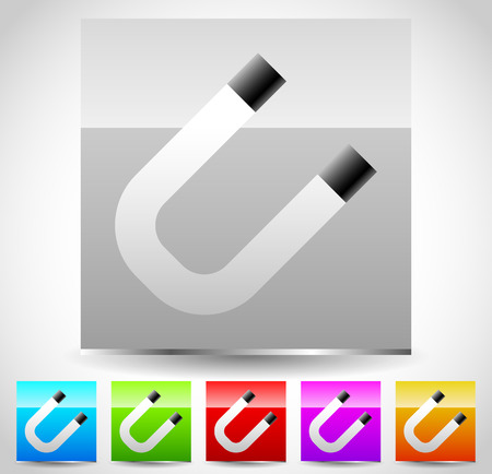 iron horse: Glossy square magnet icons. Vector graphics.