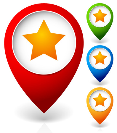 favorite colour: Map marker with star. Favorite place, location. Vector icon.