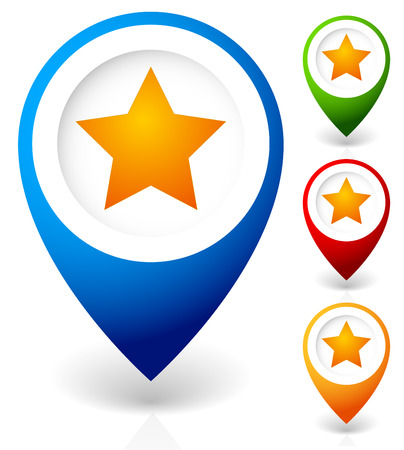 pinpoint: Map marker with star. Favorite place, location. Vector icon.