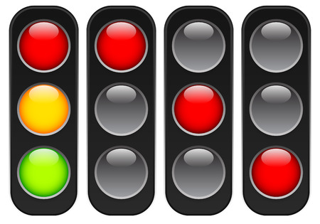 manage transportation: Traffic lamps, lights isolated on white. Control lights. Vector.