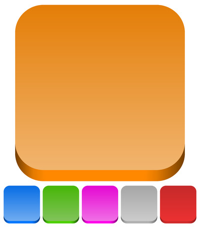 green purple: 3d squares with rounded corners in 6 colors: Brown, blue, green, purple, gray and red button backgrounds.