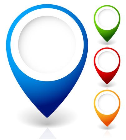 Conjunto de marcadores de mapa vectorial, con varios colores