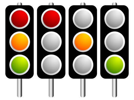 trafficlight: Traffic lamps, lights isolated on white. Control lights. Vector.