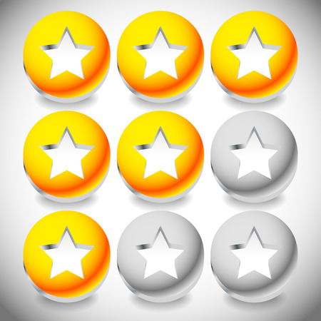 worse: Star rating system with 3 stars and sphere graphics