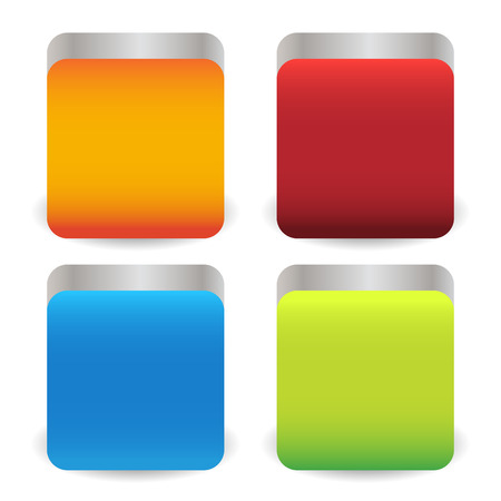 rounded: Colorful metallic squares with rounded corners and 3d effect