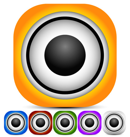 loudness: Graphics with loudspeaker for music, audio or multimedia concepts. Vector. Stock Photo