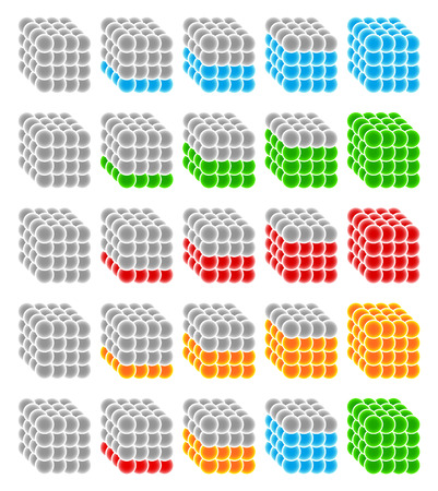 progression: Cubes made from spheres as progress or level indicators. Steps, phases, stages, progress, progression.