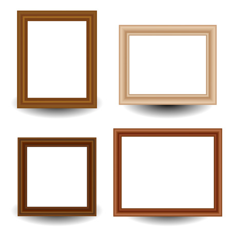 pictureframe: Set of 4 wooden picture, photo frames. Stock Photo
