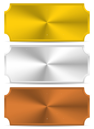 gold silver bronze: Gold, silver, bronze metal plates, plaques. Vector.