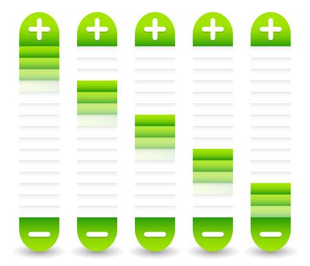 decreasing in size: Sliders con plus, segni meno. Regolare, regolazione, elementi di taratura  template. Archivio Fotografico