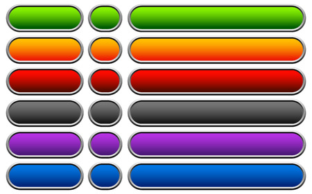 Horizontal buttons with blank space, rounded colorful button, banner backgrounds. Stock Photo