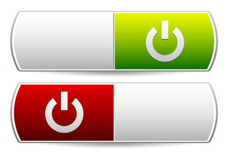 Power buttons. Icons with power symbol. Vector. Stock Photo