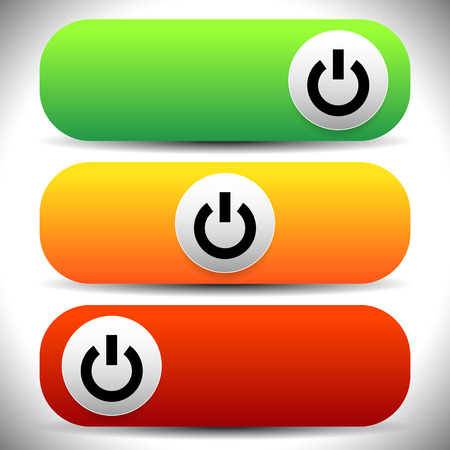shutdown shut down: Power buttons. Icons with power symbol. Vector. Stock Photo