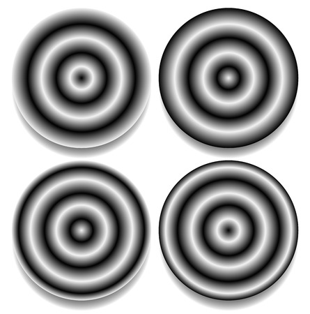 contrasty: Circles with different contrasty gradient fills, concentric black and white pattern.
