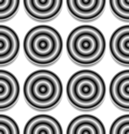 contrasty: Repeatable pattern with circles with gradient fills. Contrasty, abstract background.