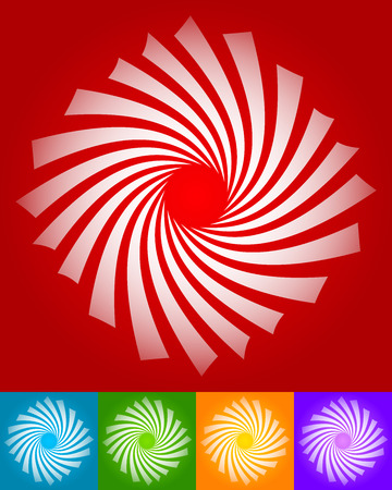 twisting: Abstract twisting, rotating vector elements in 5 colors. Stock Photo