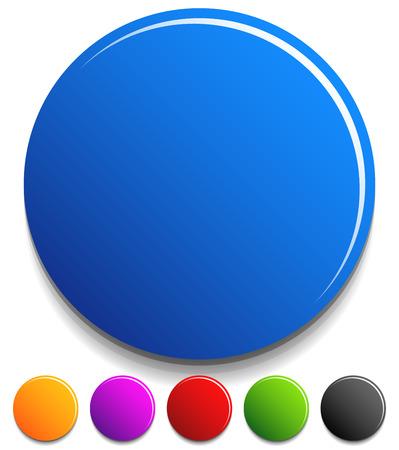 白丸ボタン、バッジ。カラフルなデザイン要素です。ベクトル。