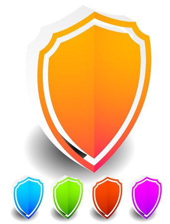 sheild: 3D Bright, colorful shield shapes in 5 colors isolated on white with shadow.