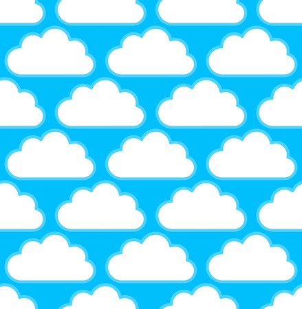 cumulus cloud: Cloud pattern with white round, cumulus clouds over bright blue, teal. Seamlessly repeatable.