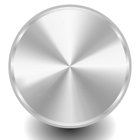 silver metal: Blank metal, metallic circle plate or disc with conical gradient. Vector illustration.