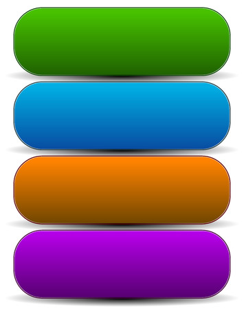 rounded: Horizontal buttons with blank space, rounded colorful button, banner backgrounds. Stock Photo
