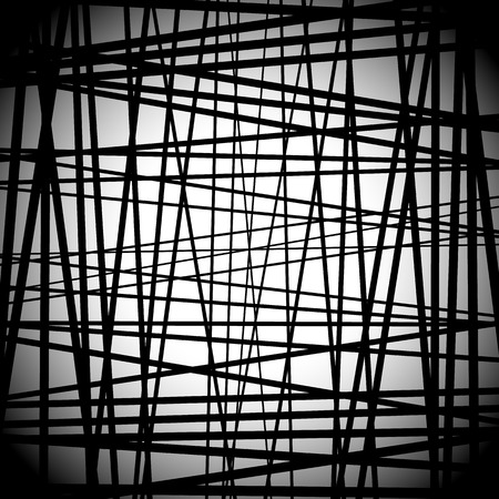 randomness: Abstract black and white art with random lines. Editable.