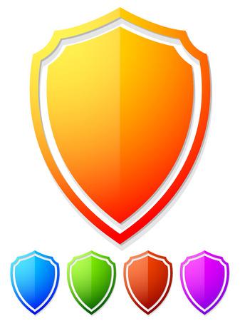 escudo: Brillante, brillante colorido formas, escudo en 5 colores. Foto de archivo