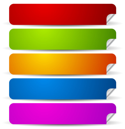 rounded rectangle: Peeling rounded rectangle stickers with empty space. Vector.