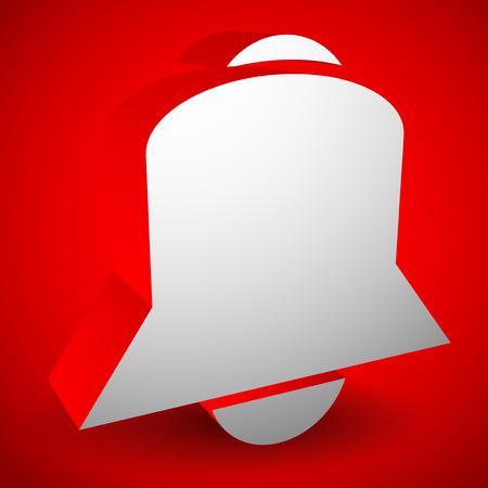 forewarn: 3d bell vector. Alarm, siren, notification icon.