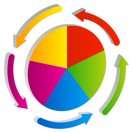 circular arrows: 3d diagram, pie chart element with circular arrows. Stock Photo