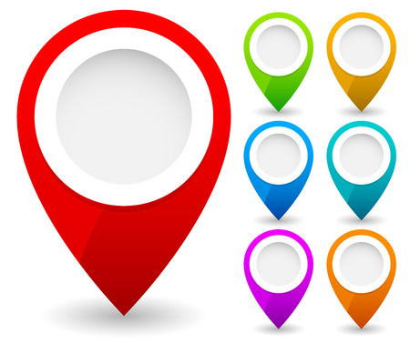 Map marker, map pin vector. Map markers with circles with blank space. 7 colors. Vector graphics. Stock Photo