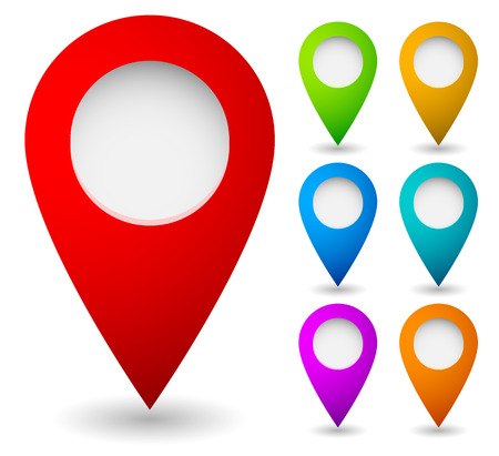 Map marker, map pin vector. Map markers with circles with blank space. 7 colors. Vector graphics. Archivio Fotografico